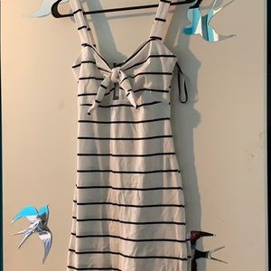Black/White Striped fitted dress.